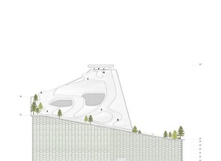 The plant will have a total of more than 1,600 feet of ski runs. The roof was designed to support three ski slopes in different gradients—a feature that will let the plant accommodate skiers of varying degrees of ability. Image courtesy of the Bjarke Ingels Group.