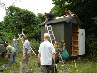 Volunteers at work on another Mad Housers project. Photo courtesy of Mad Housers Inc.