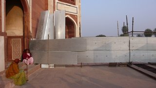 "Shanty Storage Cabinet: Groove is in the Art - Photo 3 of 4 - Corrugated steel construction at Humayun's Tomb in Delhi. ""For me it's a positive beautiful thing to find inspiration from, what people are doing in a very humble way,"" Doshi says about improvised, corrugated steel construction around the world. ""There are many people who think these neighborhoods aren't beautiful. But for the people who live there, they put a lot of care into what they built for themselves. We love the composition of the corrugated steel, that's used to make these amazing structures. They are the authors and architects of their own dwellings."" Image courtesy of Doshi Levien."