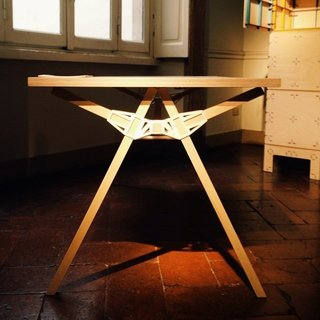 Studio Minale-Maeda's 3-D printed connector, called Keystone, holds this table together.