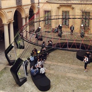 Nike's Flyknit exhibition designed by the architect Arthur Huang adds a kick to the Palazzo Clerici courtyard.