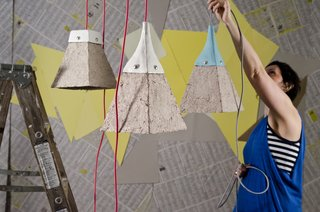 Jasna Sokolovic and Pulplites Lamps<br><br>A play in texture and contrast, the Pulplites lamps contain a mixture of cardboard, and in some cases, even old letters and egg cartons, with a fabric cord and ceramic cap made from scratch.<br><br>Photo courtesy of Dear Human.