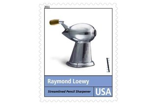Pencil Sharpener (1933)<br><br>Looking like a ray gun from an early sci-fi serial, Loewy's prototype pencil sharpener has been an icon for decades, memorialized (as depicted in the stamp above) as a teardrop-shaped catalyst for streamlined industrial design.