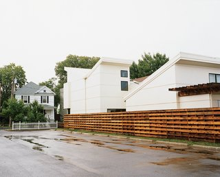 The modern Bracher house stands out in the more traditional Fairgrounds neighborhood outside the Dayton, Ohio city center.