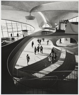 TWA Terminal, interior, designed by Eero Saarinen, 1962. Gelatin silver print. Carnegie Museum of Art, Purchase: gift of the Drue Heinz Trust. Image courtesy of the Carnegie Museum of Art, copyright Ezra Stoller/Esto, Yossi Milo Gallery.
