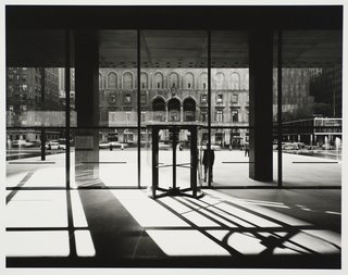 Seagram Building, designed by Ludwig Mies van der Rohe and Philip Johnson, photographed 1958. Gelatin silver print. Carnegie Museum of Art, Purchase: gift of the Drue Heinz Trust. Image courtesy of the Carnegie Museum of Art, copyright Ezra Stoller/Esto, Yossi Milo Gallery.