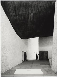 The chapel of Notre Dame du Haut in Ronchamp, France, designed by Le Corbusier and photographed in 1955. Gelatin silver print. Carnegie Museum of Art, Purchase: gift of the Drue Heinz Trust. Image courtesy of the Carnegie Museum of Art, copyright Ezra Stoller/Esto, Yossi Milo Gallery.