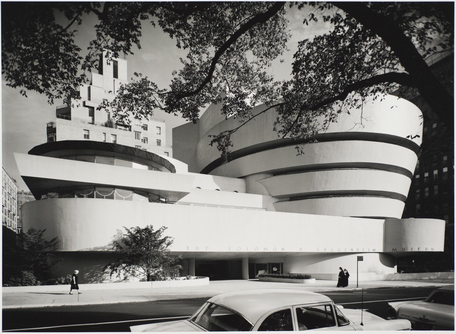 Exterior Solomon R. Guggenheim Museum, designed by Frank Lloyd Wright, photographed in 1959. Gelatin silver print. Image courtesy of the Carnegie Museum of Art, copyright Ezra Stoller/Esto, Yossi Milo Gallery.  Photo 4 of 10 in 10 Frank Lloyd Wright Buildings We Love from Modernism Through the Viewfinder: The Photography of Ezra Stoller