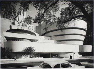 Solomon R. Guggenheim Museum, designed by Frank Lloyd Wright, photographed in 1959. Gelatin silver print. Image courtesy of the Carnegie Museum of Art, copyright Ezra Stoller/Esto, Yossi Milo Gallery.