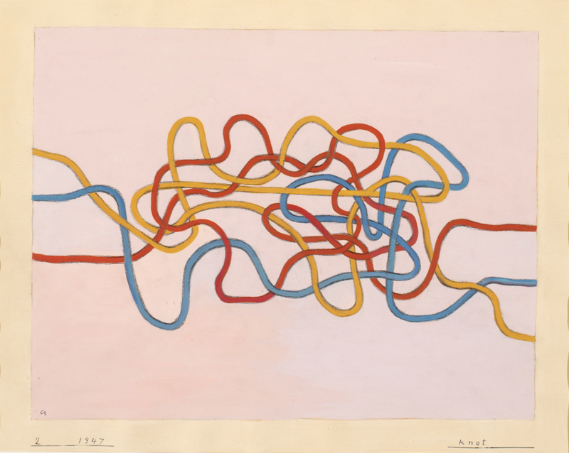 """""""Knot 2,"""" Anni Albers, 1947. Both Anni and Josef Albers pushed students to consider how line, color, and form could communicate ideas to the viewer, and pursued these concepts in their own work."""