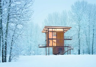 Olson Kundig Architects' Delta Shelter, in Mazama, Washington, is a 1,000 square-foot steel box home with a 200 square-foot footprint.