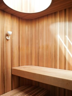 This California sauna soaks up the sun with a brilliant skylight.