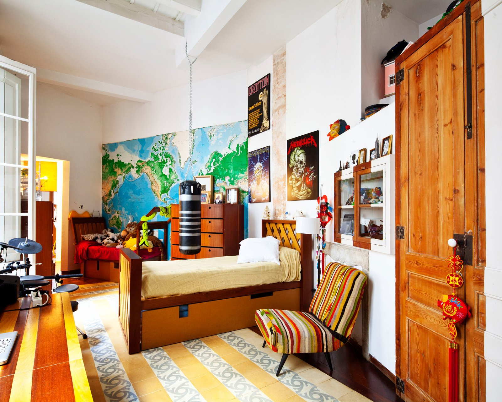 Benedetta's son's bedroom, which is on the second floor of the villa. The bed is her own design.  Photo 20 of 23 in The Barcelona Home Like No Other