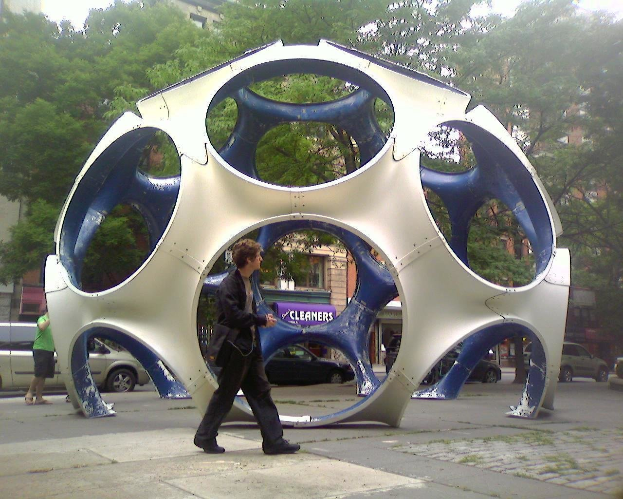 """Fly's Eye Domes  Fully realized during the last few years of his life, these """"autonomous dwellings"""" were the culmination of all his learning and experience, according to Fuller. The """"fly's eye"""" holes can be used as doors or outfitted with wind or solar power to create off-the-grid housing. The largest model, a 50-foot-high dome, debuted in LA in 1981 and was out-of-sight for decades before being restored and shown at the Toulouse International Art Festival last year.   Photo by aaronbflickr, Creative Commons  Photo 8 of 9 in Design Icon: 8 Works by Buckminster Fuller"""