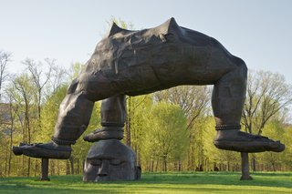 "Zhang Huan explains that the idea behind ""Three Legged Buddha"" was juxtaposing ""two forces, one from heaven, one from earth, merging them together, but also putting them together as opposite forces."" Storm King Art Center, gift of Zhang Huan and Pace Gallery. Photo: Jerry L. Thompson, © Zhang Huan Studio, courtesy Pace Gallery."