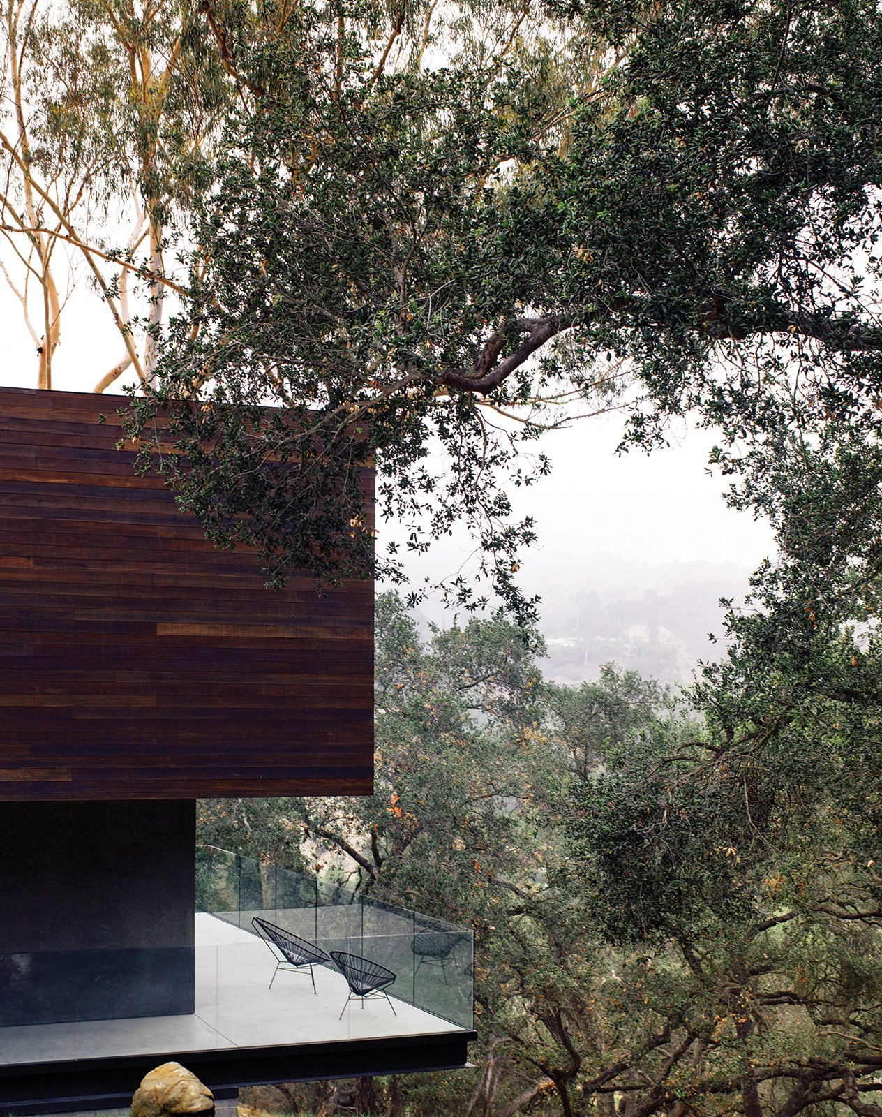 """Exterior, Flat RoofLine, House Building Type, and Wood Siding Material Just as the barn was extended and cantilevered over the sloped site, so too was the deck off the kitchen, which juts out toward the oak grove. """"There are 125 coast live oaks on the property,"""" says Walker. """"They're beautiful trees, so why not exploit that?"""" See more ways to use oak in your home.  Photo 11 of 12 in 5 Sustainable Ways To Beat the Heat Without Air Conditioning from Modern Home Designed for Live Music in Beverly Hills"""