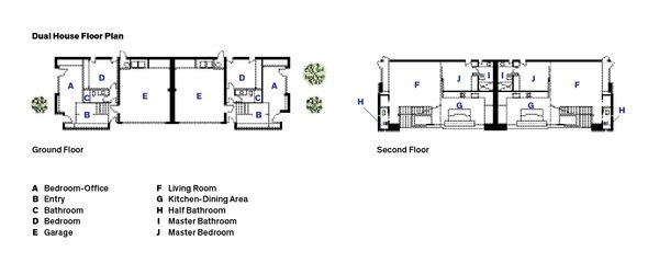 The floor plan of Dimster Architecture's Dual House in Venice, California.