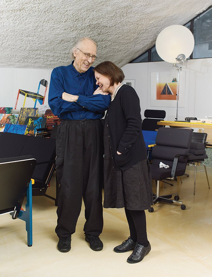 Kukkapuro with wife Irmeli, a graphic artist, in their shared home and studio.  Photo 4 of 7 in Modern Studio of a Finnish Design Legend