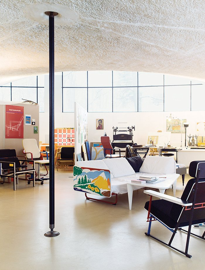In the late 1970s, he experimented with a sofa that sports a stylized landscape painted on its sides, a prelude to the postmodernism of the 1980s. The Kukkapuros' respective work spaces are side by side and occupy roughly one-third of the studio's 2,150 square feet.  Photo 5 of 7 in Modern Studio of a Finnish Design Legend