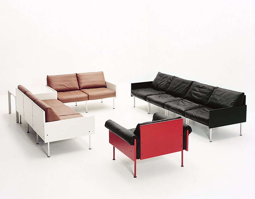 The 1964 Ateljee line was born out of a loose idea encouraged by Kukkapuro's manufacturer, Gunnar Haimi. Starting with a wooden box filled with pillows, Kukkapuro came up with a modular seating system comprising plush upholstery attached to a simple paneled frame. The undercarriage was inspired by the metal Heteka cot, ubiquitous in postwar Finland.  Photo 6 of 7 in Modern Studio of a Finnish Design Legend