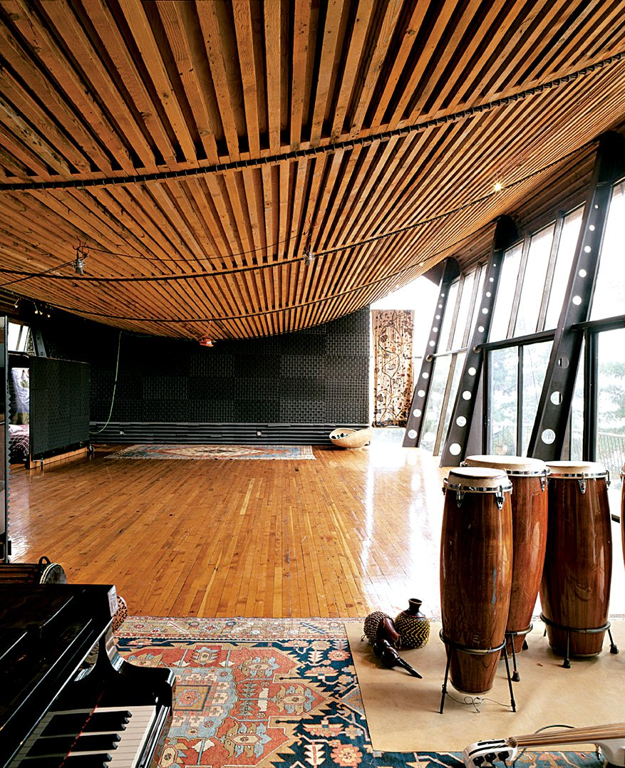Living Room Adjacent to the owner's larger home, the Music Studio, with its bowed, ship-like ceiling, was designed to house events, parties, and performances.  Photo 2 of 9 in Big Sur: Coastal Commissions