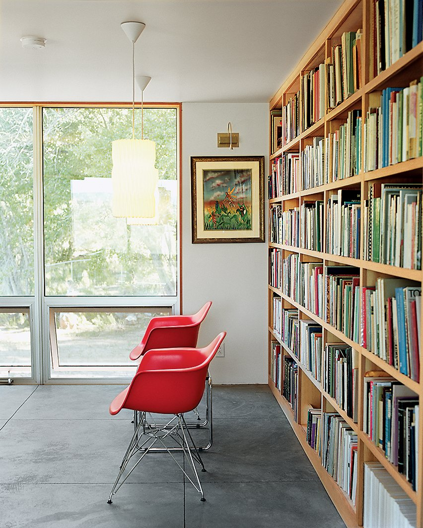 Storage Room and Shelves Storage Type Up above the sitting room a duo of Eames shell chairs and a bank of luminous operable windows await a pair of weary readers.  Photo 4 of 10 in Abiquiu Debut