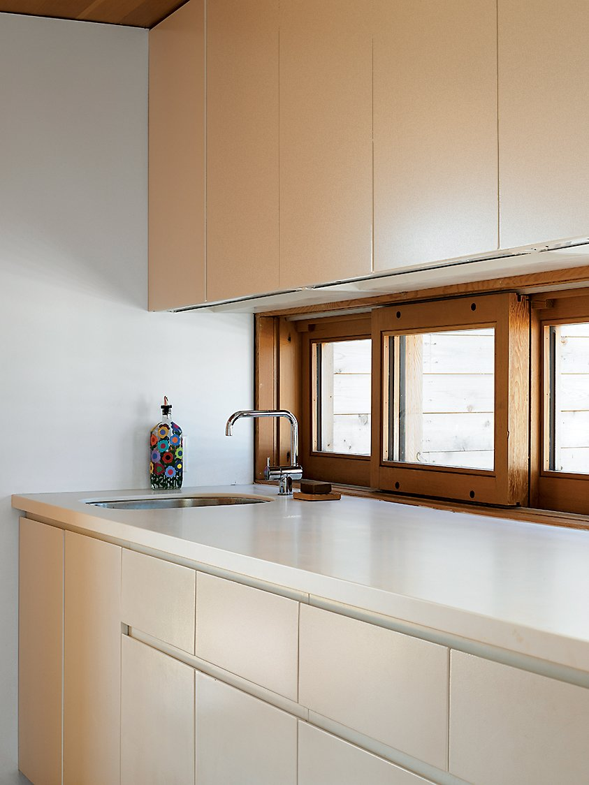 """Kitchen, Laminate Counter, Undermount Sink, and Laminate Cabinet Upstairs in the Floating House, building codes didn't allow a full kitchen, but a galley kitchenette continues the compound's simple palette of white and Douglas fir. """"I love how understated it is,"""" says Worple.  Photo 7 of 16 in Floating House, Lake Huron"""
