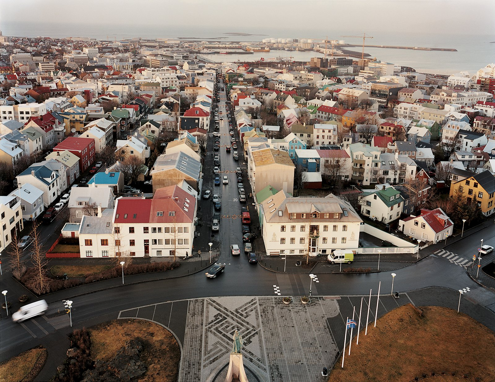 """Nearly two-thirds of Iceland's population of 300,000 lives in the greater Reykjavík area. The city's name means """"smoky bay."""" The view of the waterfront shows the rational architectural pragmatism that holds sway in much of the country.  Photo 2 of 13 in Reykjavík, Iceland"""