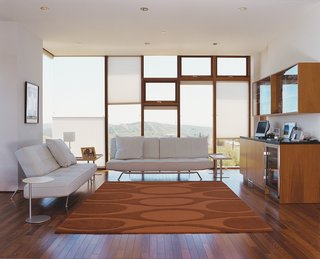 Untraditional in Marin - Photo 2 of 4 - The Shermans' living room is outfitted with Ligne Roset Smala sofas by Pascal Mourgue and a Kenga rug by Angela Adams.