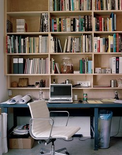 A work station in the couple's office.
