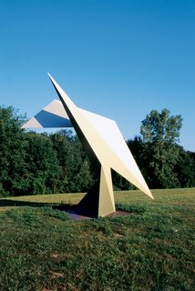 A sculpture at the nearby Ami Omi sculpture garden. The house was inspired by Richard Serra's sculpture 4-5-6-- a 90-ton behemouth at Colby College in Waterville, Maine.