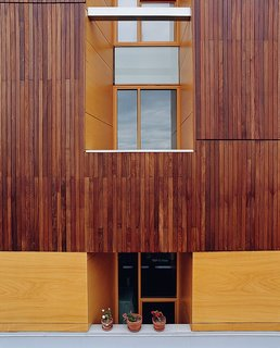 Community Building - Photo 5 of 10 - A detail of the building's exterior reveals the texture of the ipe cladding.
