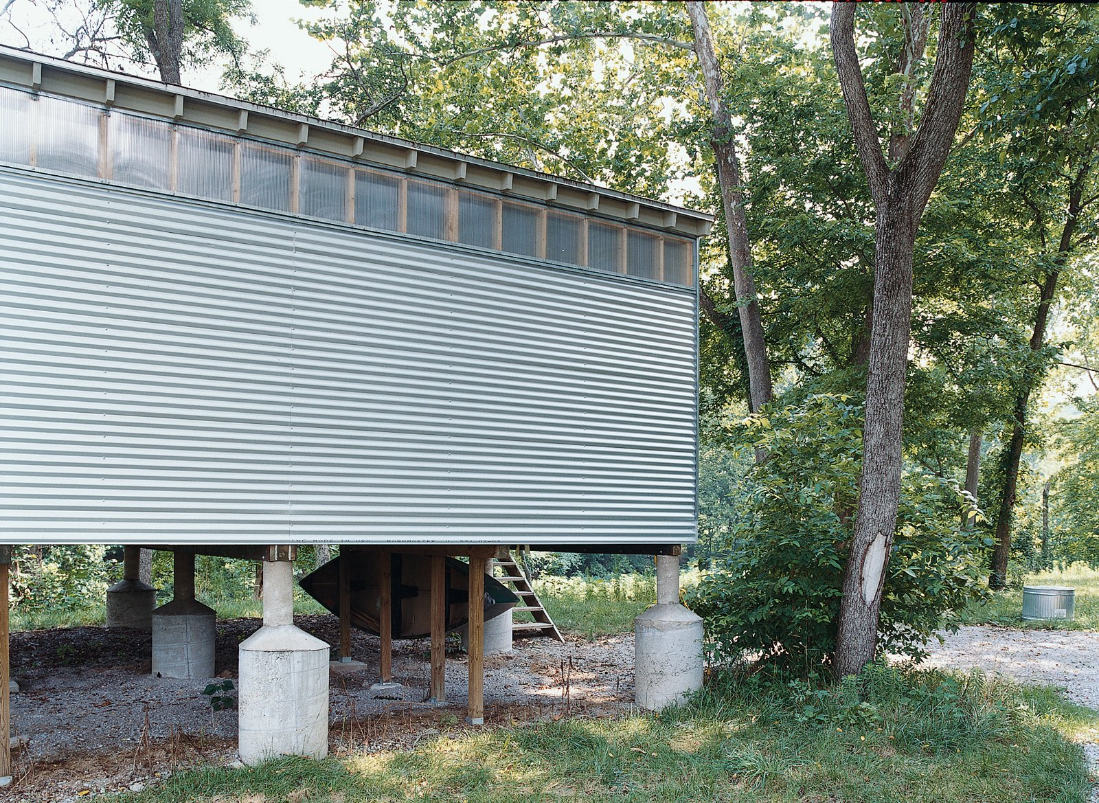 Exterior, Metal Siding Material, House Building Type, and Cabin Building Type The creekside Fish Camp prototype rests on oversize flood-rated pylons, one of many foundation options the Camp units can accommodate.  Photo 10 of 10 in All You Need Is LV