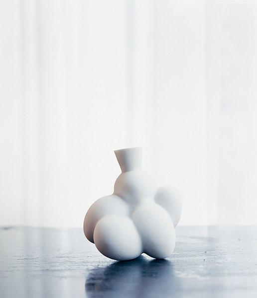Wanders's Egg vase for Moooi is a blooming vessel for flowers.