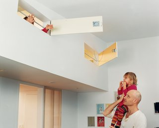 """""""The kids can look down into the sitting room or out the windows of their rooms into the park,"""" says Matthew Baird of the children's lofts with  their shiplike hatches. """"It adds a layer of complexity to the design."""""""