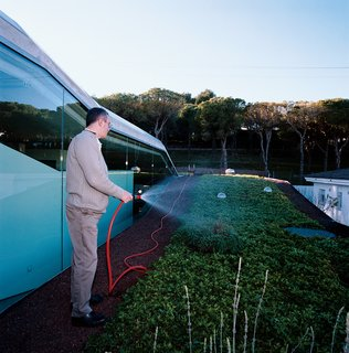 Owner Carles Fontecha waters his rooftop garden.