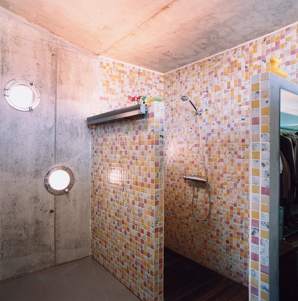 Cloud9's Manel Soler Caralps, who completed the home's interior design, created the tile pattern in the shower.  Photo 9 of 10 in Suburban House of the Future by Cloud9
