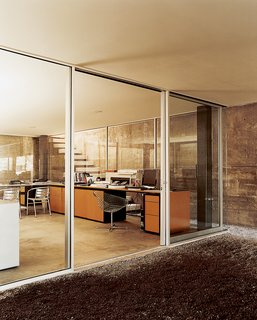 Jorge's office is on the basement level which provides easy access to the outside.