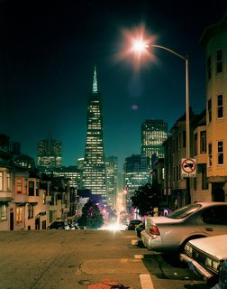 This stretch of Telegraph Hill  gazes one way toward the Transamerica Pyramid, and leads in the other to cafés, bars, and bookstores.