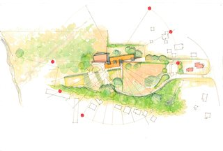 The rendering demonstrates how the orientation of the proposed building maximizes solar energy. The orange dots represent the sun's arc at its highest, middle, and lowest points. South-facing windows combined with rammed-earth and straw-bale construction will help retain solar gains during daylight hours.