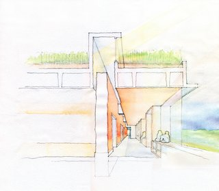 Teaching by Example - Photo 2 of 2 - This section shows the living roof that will provide excellent insulation and curtail stormwater runoff. Large expanses of glass provide ample natural light to heat the centrally located rammed-earth wall.