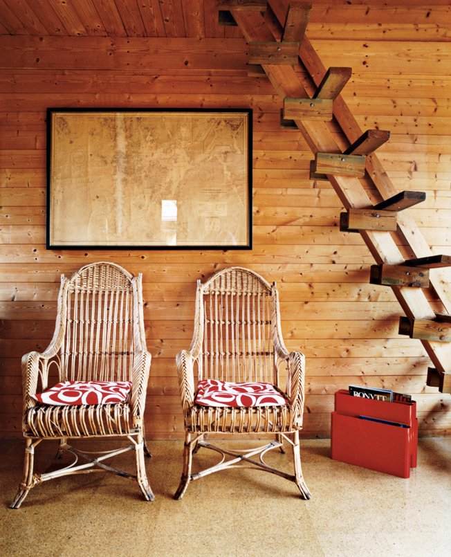 Living Room and Chair Kiehl's mentor, Horst Beier, built a ladder from the living room to the guest-bedroom loft.  Photo 3 of 9 in Norwegian Wood