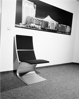 An early iteration of Sobek's Airport Chair sits in the office.