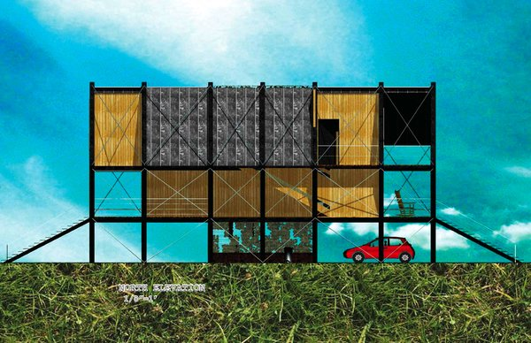 The Pin House (elevation) by Erin Towsley and Valérie Lechéne of McGill University