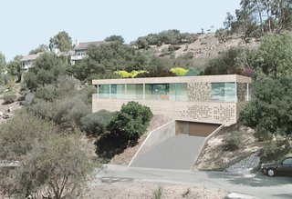 This rendering of the Dwell Home II's exterior shows the perforated screen that lets air into the house, without the use of a pump, as part of a passive cooling system.
