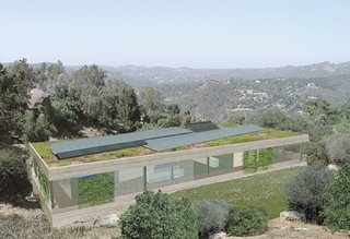 Photovoltaic panels and a green roof will cap the project. They will also work to integrate the house into the natural setting.