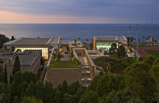 Top Ten Green Projects - Photo 4 of 20 - Charles Hostler Student Center (aerial view) in Beirut, Lebanon, by Vincent James Associates Architects. Photo by Paul Crosby.