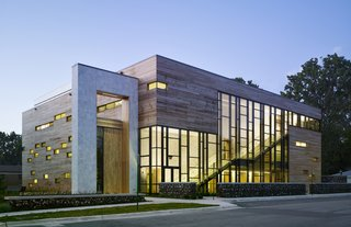 Jewish Reconstructionist Congregation (exterior view) in Evanston, Illinois, by Ross Barney Architects. Photo by Steve Hall, Hedrich Blessing.