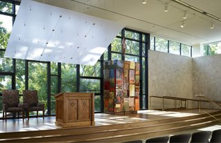 Top Ten Green Projects - Photo 10 of 20 - Jewish Reconstructionist Congregation (interior view) in Evanston, Illinois, by Ross Barney Architects. Photo by Steve Hall, Hedrich Blessing.