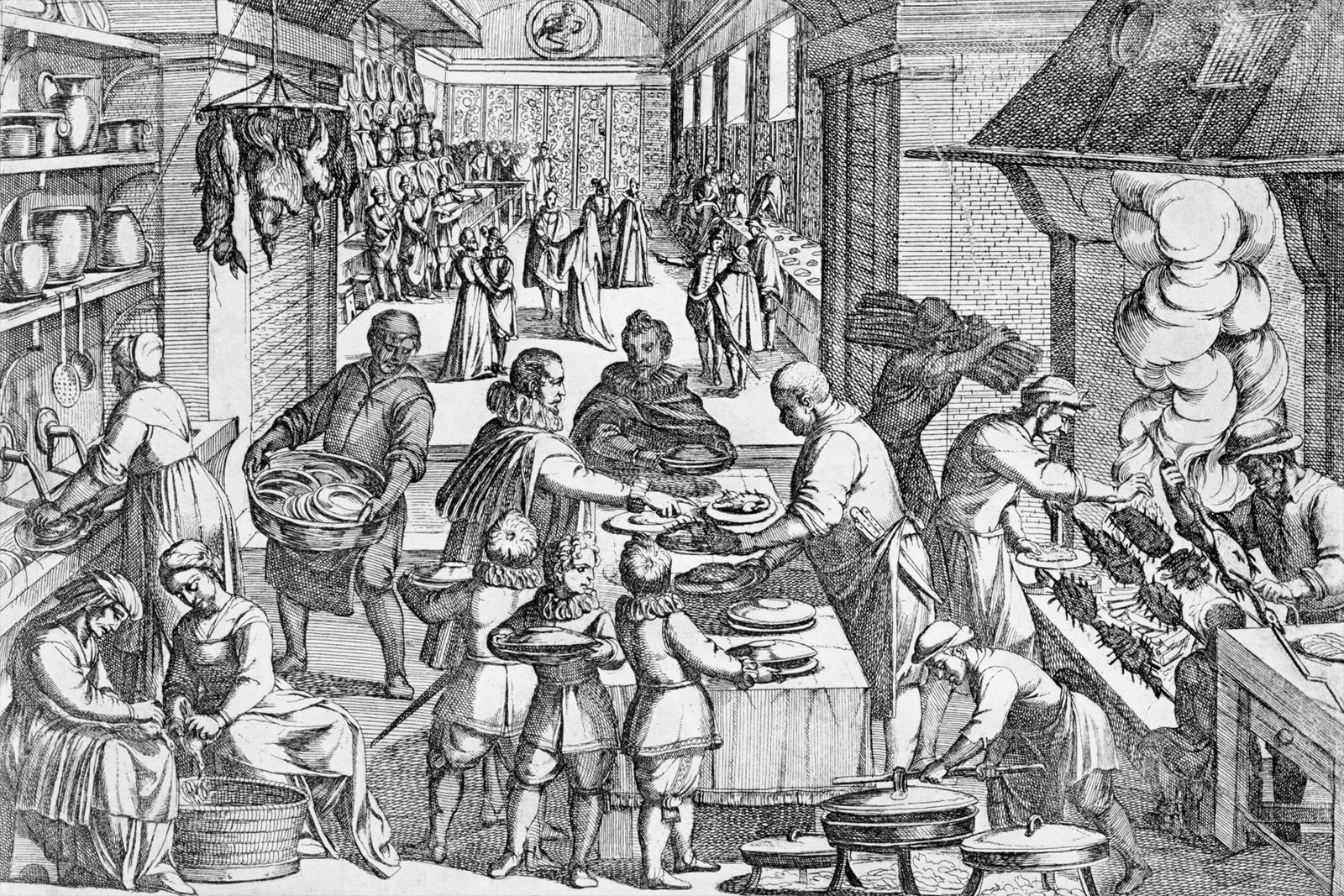 An engraving from 1675 by Justus Sadeler, showing the chaotic preparations in the kitchen before a feast.  Photo 7 of 7 in An Introduction to Kitchen Design